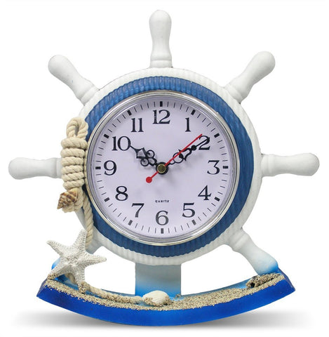 Nautical Clock Boat Steering Wheel Helm Decoration - Self Standing Base - 8.5 Inch
