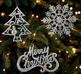 Christmas Ornaments - Silver Trees, Silver Snowflakes and Silver Merry Christmas Signs - Christmas Decorations(3554)
