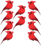 BANBERRY DESIGNS Cardinal Christmas Clip-On Ornaments - Set of 10 Cardinals Carrying Red Berries