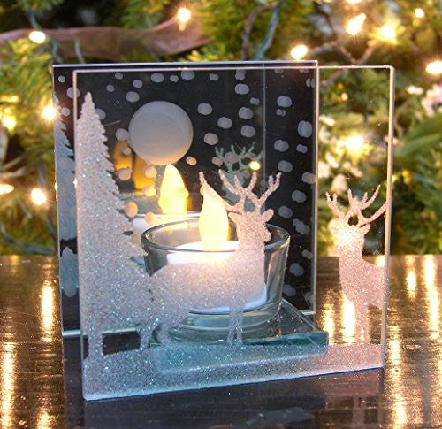 Christmas Candle Holder - Glittery Holiday Scene with Reindeer and Trees