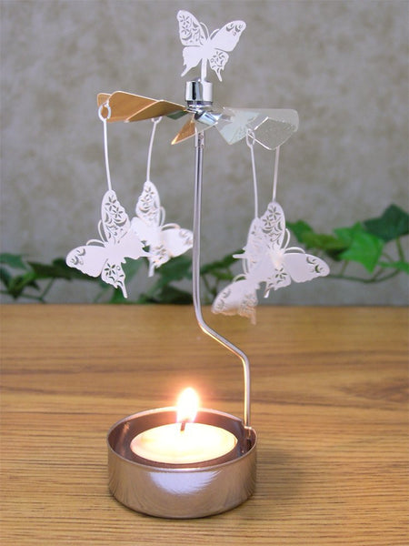 Spinning Butterfly Candle Holder Silver Metal Scandinavian Design Carousel