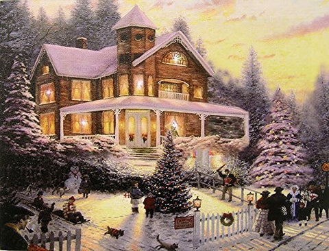Christmas LED Wall Art - Winter Scene with a Victorian House in a Snowy Setting - Christmas Lights in the Trees Light Up(2514)