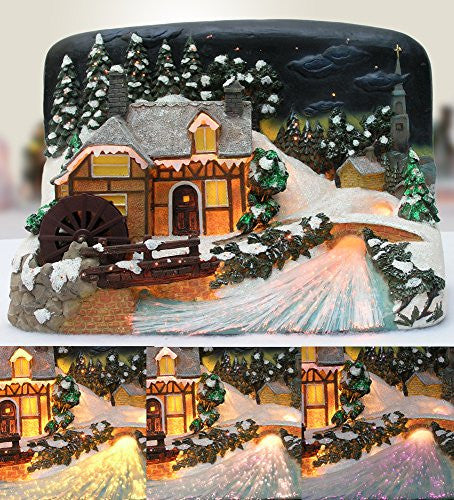 Christmas Village House with Sawmill LED Fiber Optic