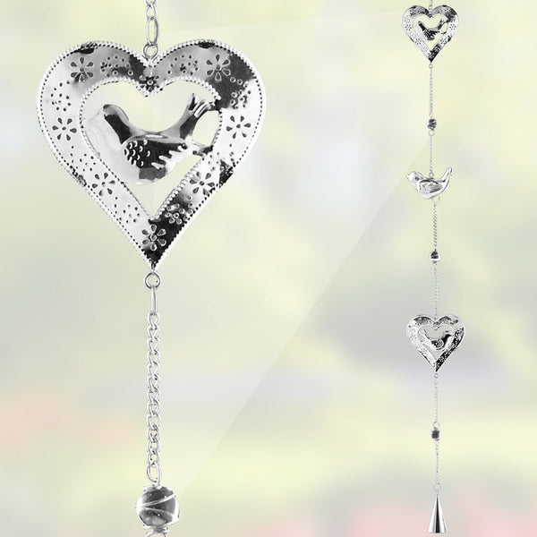 Bird and Heart Chimes - Silver Heart Shaped Filigree Chimes with Glass Marbles and Bells - Garden Decor - 38 Inch High