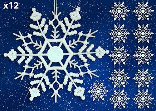"White Glitter Snowflake Ornaments - Pack of 12 Shatterproof Snowflakes - 5"" Glitter White Snowflakes Christmas Ornaments - Snowflake Decorations"