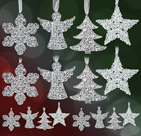 Clear Glitter Hanging Decorations - Set of 16 Assorted Shapes - 4 Snowflakes - 4 Angels - 4 Trees - 4 Stars - Sparkly Acrylic Ornaments(3505)