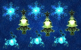 Assorted Color Changing LED Lights - Snowflake Christmas Tree and Reindeer with Suction Cups for Hanging in a Window Christmas Decoration Acrylic