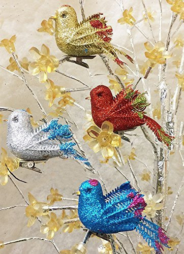 Christmas Bird Ornaments - Set of 12 Clip-On Birds - Package Includes 3 Red, 3 Blue, 3 Gold and 3 Silver - Artificial Birds(3548)