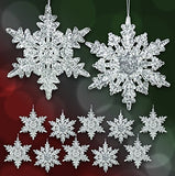 "Acrylic Iridescent Snowflake Christmas Ornaments Winter Wedding Favor Birthday Party Theme Decoration for Girls - 4.5"" Diam."