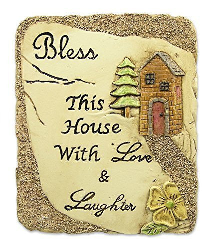 Bless This House Plaque with Inspirational Message Desktop or Wall Hanging Stone Decoration Carved House and Flowers Pottery Hand Painted Art