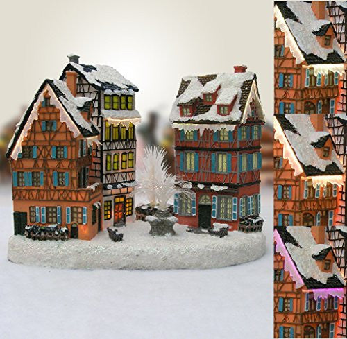 Christmas Village House with Water Fountain LED Fiber Optic
