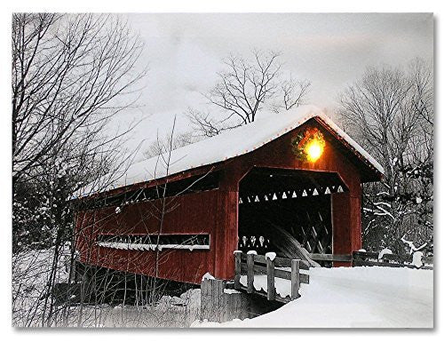 Covered Red Bridge LED Canvas Print - Lighted Picture Old Fashioned Rustic Bridge -  Snowy Winter Scene - Bridges of Madison County