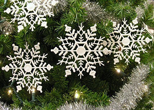 Snowflake Ornaments - Set of 48 Assorted White Glitter Snowflakes - Iridescent Snowflakes - Christmas Ornaments - Snowflake Decorations