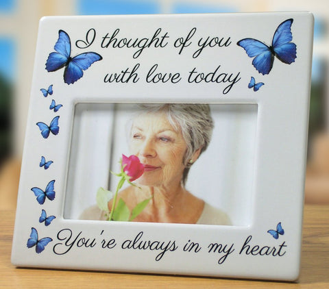 Memorial Picture Frame - I Thought of You with Love Today - Ceramic Keepsake Bereavement Gift