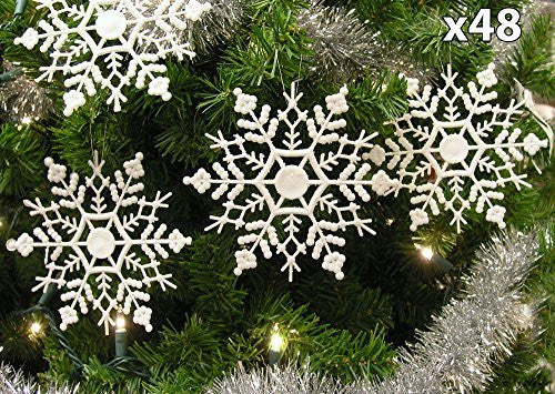 "White Glitter Snowflake Ornaments - Pack of 48 Shatterproof Snowflakes - 5"" Glitter White Snowflakes Christmas Ornaments - Snowflake Decorations"