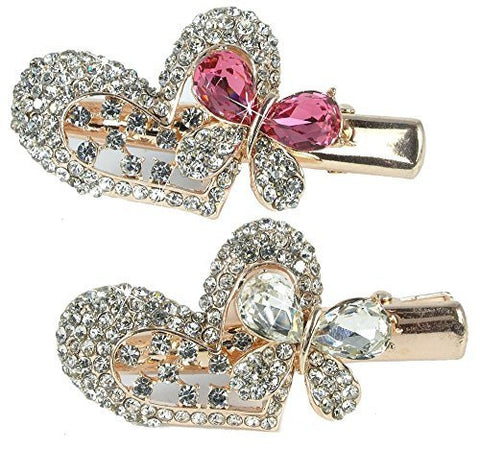 Jeweled Heart & Butterfly Hair Clips Gold Metal with Decorative Pink Clear Rhinestone Crystals - Set of 2(1801P)