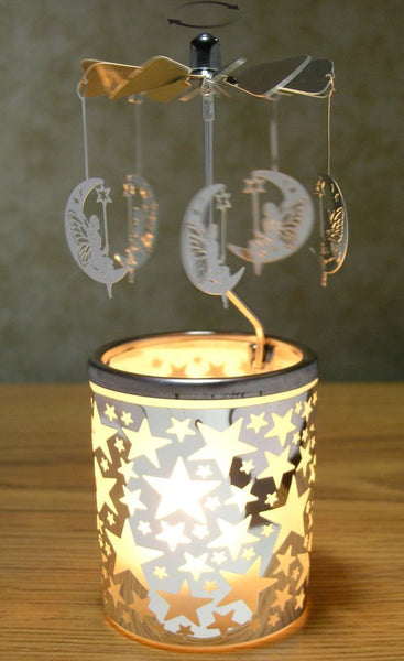 Spinning Moons Candle Holder with Frosted Glass & Silver Metal Stars