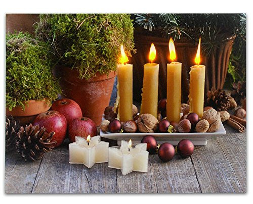 Primitive Country Decor LED Lighted Canvas Print Candles and Topiary Like Plants(2551)
