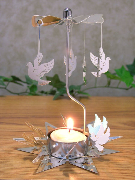 "Spinning Dove Tealight Candle Holder Scandinavian Design Metal 5.5""H"