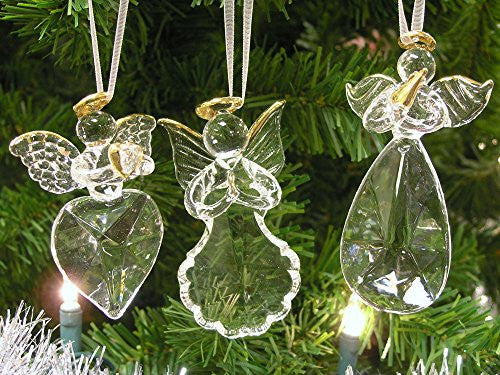 Glass Angel Ornaments - Set of 3