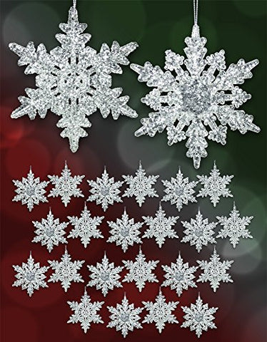 "Acrylic Iridescent Snowflake Christmas Ornaments Winter Wedding Favor Birthday Party Theme Decoration for Girls - 4.5""d"