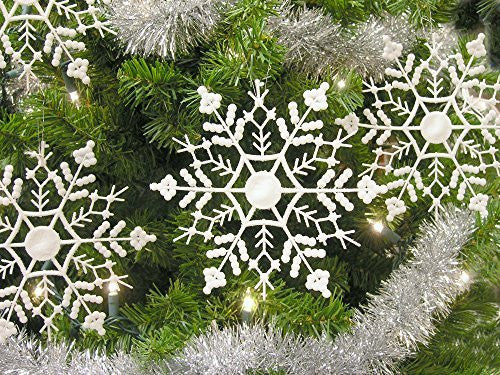 "Set of 12 Snowflake Christmas Ornaments Winter Wedding Favor Birthday Party Theme Decoration for Girls - Iridescent White Glitter - 6.5""D"