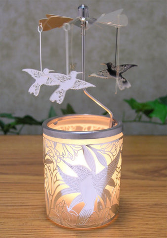 Frosted Glass Candle Holder With Spinning Humming Birds
