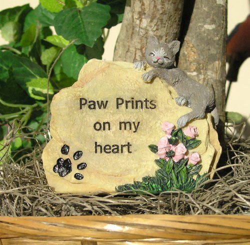Cat Memorial Message Rock Paw Prints on My Heart