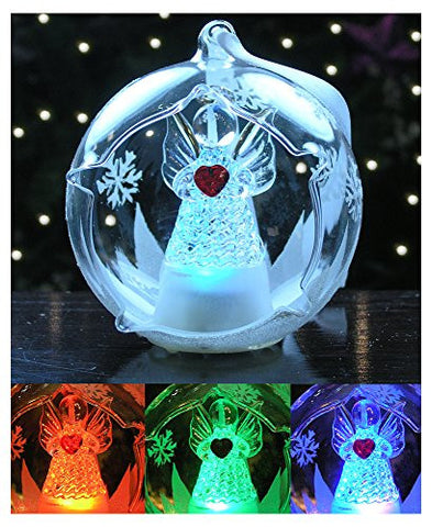 LED Glass Globe Christmas Ornament Angel with Red Heart and Hand Painted Glittery Snowflakes - Color Changing Lights
