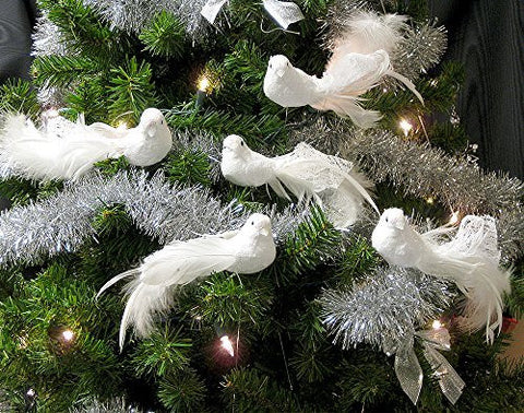 Artificial Birds - Set of 6 White Feather Doves with Metal Wire Plant Stems - Long Tail Craft Birds - Turtle Dove Decorations