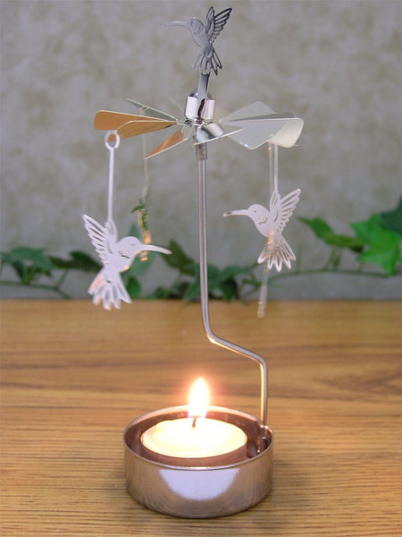 Spinning Humming Bird Candle Holder Silver Metal Scandinavian Style Carousel