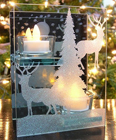 Winter Scene Candle Holder - 2 Flameless LED Tea Lights Are Included