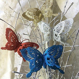 Butterfly Ornaments - Assorted Colors of Blue, Red, Silver and Gold - Butterfly Christmas Decorations(3550)