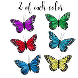Butterfly Clip On Decorations - Set of 12 Vibrant Multi Colored Craft Butterflies Clips- Party Home Decor Spring Garden Ornaments– Wreaths Plants