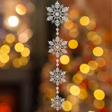 "Extra Large Snowflake Winter Wonderland White Garland 74"" Long- Jumbo Assorted Snow Flake Sizes"