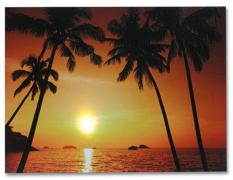Canvas Print - LED Canvas Print of a Tropical Ocean Sunset with Palm Trees