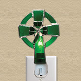 Irish Night Light Celtic Cross and Shamrock Stained Glass(7183)