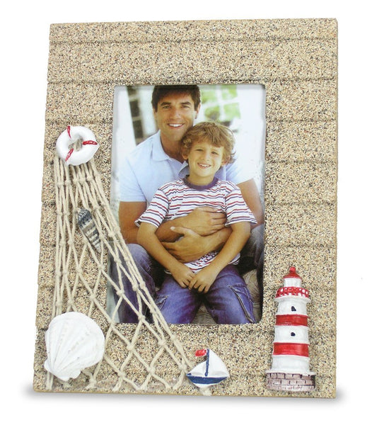 Beach Picture Frame with Lighthouse Sailboat & Shells - Sand Texture Background