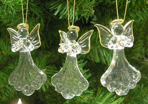 Crystal Faith Hope Love Angel Ornaments with Gold Accents - Set of 3(1966)