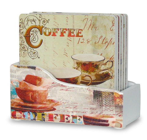 Coffee Themed Drink Coasters - Set of 6 Coffee Themed Coasters with Holder(2158)
