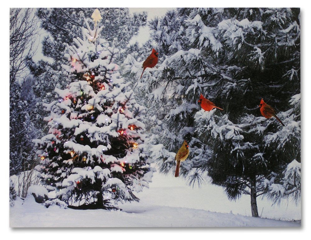 Christmas Tree Amp Cardinal Birds Led Canvas Print