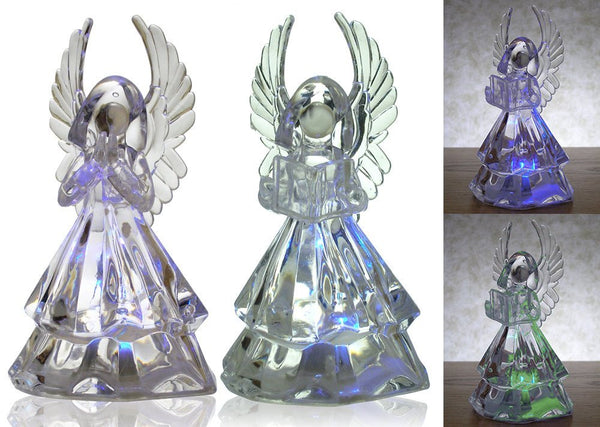 Lighted Angel Figurines - Set of 2 Clear Acrylic Color Changing LED Angel Decorations - One Holding Hymnal Book & Praying - Angel Statues - 7 Inch