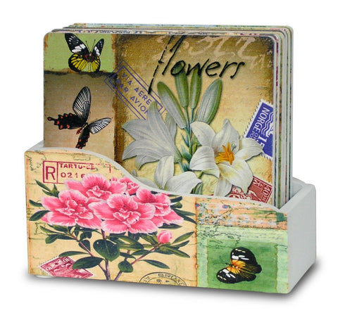 Drink Coasters with Holder - Set of 6 - Artist Renderings of Flowers & Butterflies(2164)