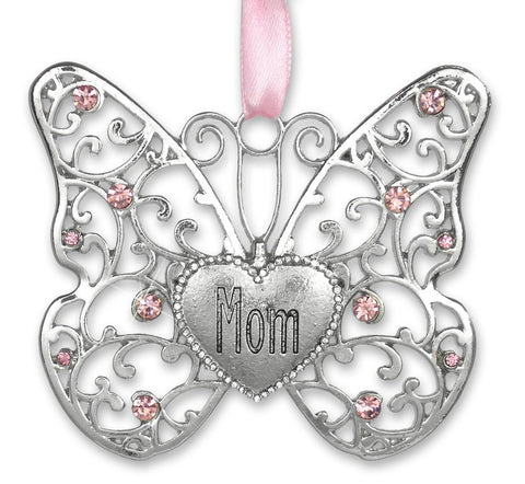 Mom Butterfly - Silver Filigree Butterfly with Pink Crystals