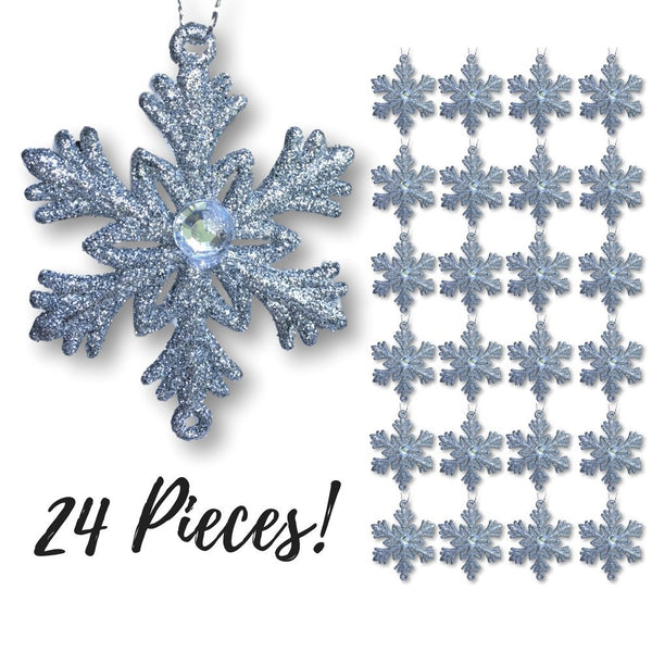 "Silver Snowflakes – Set of 24 Small 2 ½"" Snowflake Ornaments with a Jewel - Silver Christmas Decorations – Glittered Snowflakes with Strings – Winter Party Decoration"