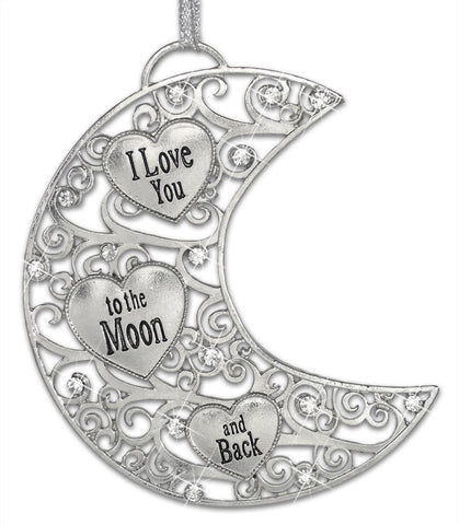 Silver Moon Filigree Ornament - I Love You to the Moon and Back