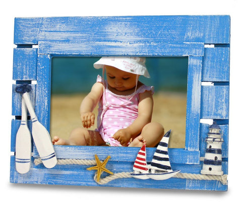 Beach Picture Frame with Sailboats & Lighthouse