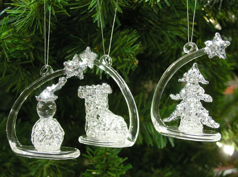 Shooting Star Glittery Crystal Glass Christmas Tree Ornaments with Figurines
