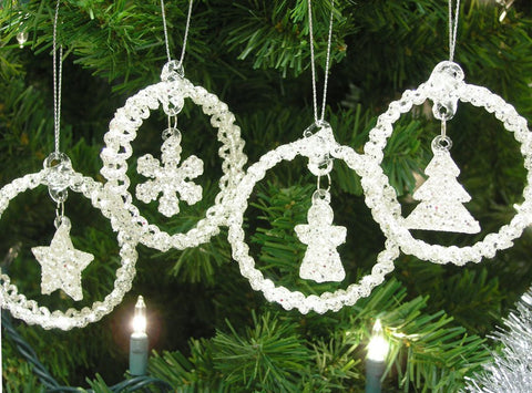 Assorted Christmas Tree Ornaments - Set of 4