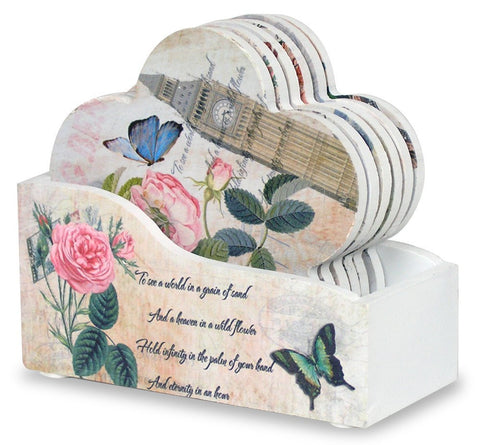 Coasters with Holder - Set of 6 Flower Shaped Coasters